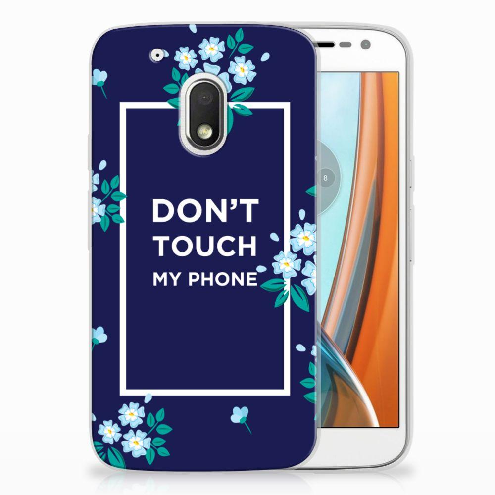 Motorola Moto G4 Play TPU Hoesje Flowers Blue DTMP