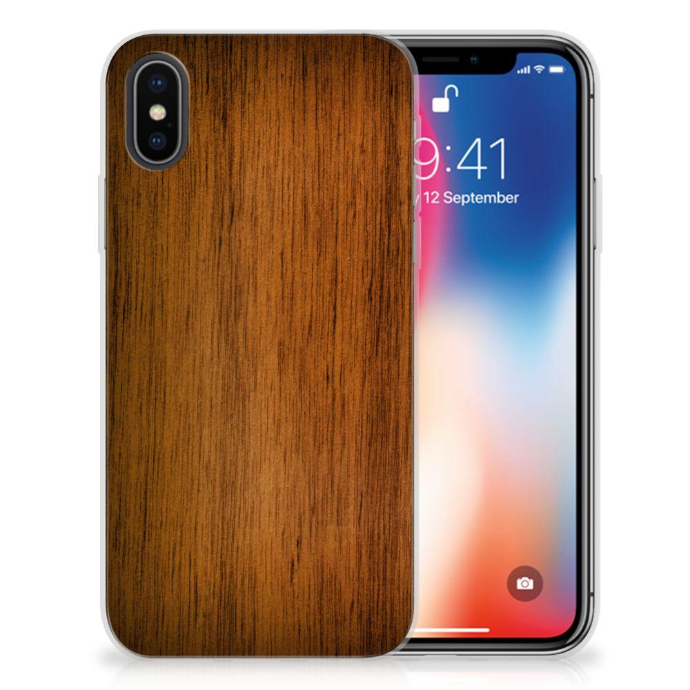 Apple iPhone X   Xs Uniek TPU Hoesje Donker Hout