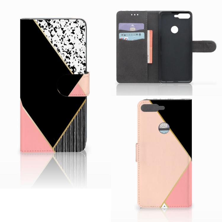 Huawei Y7 2018 Bookcase Zwart Roze Vormen