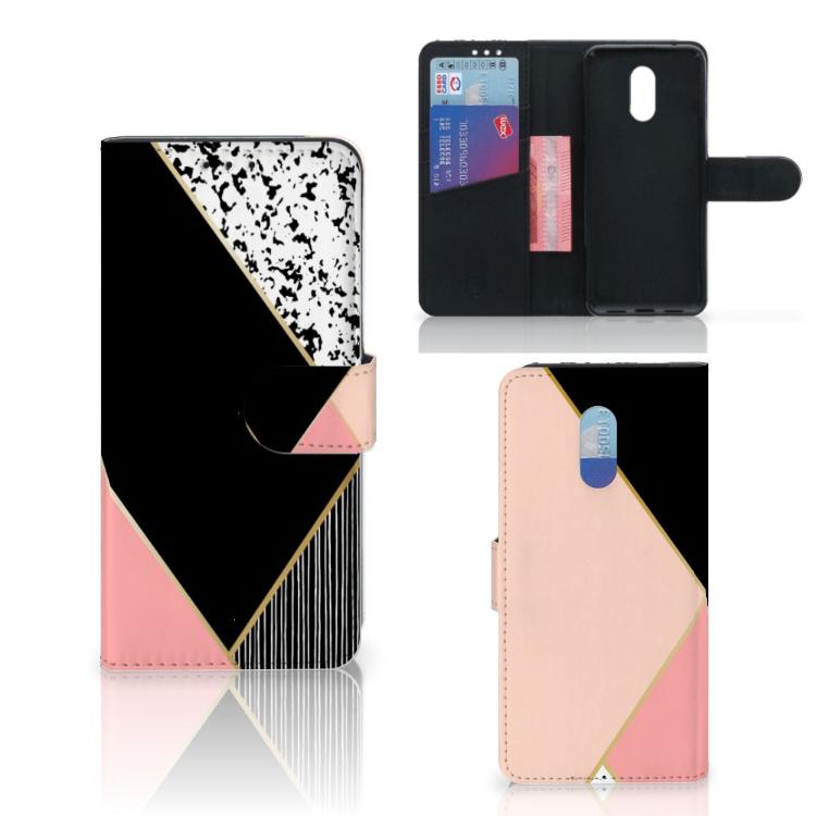OnePlus 6T Bookcase Zwart Roze Vormen