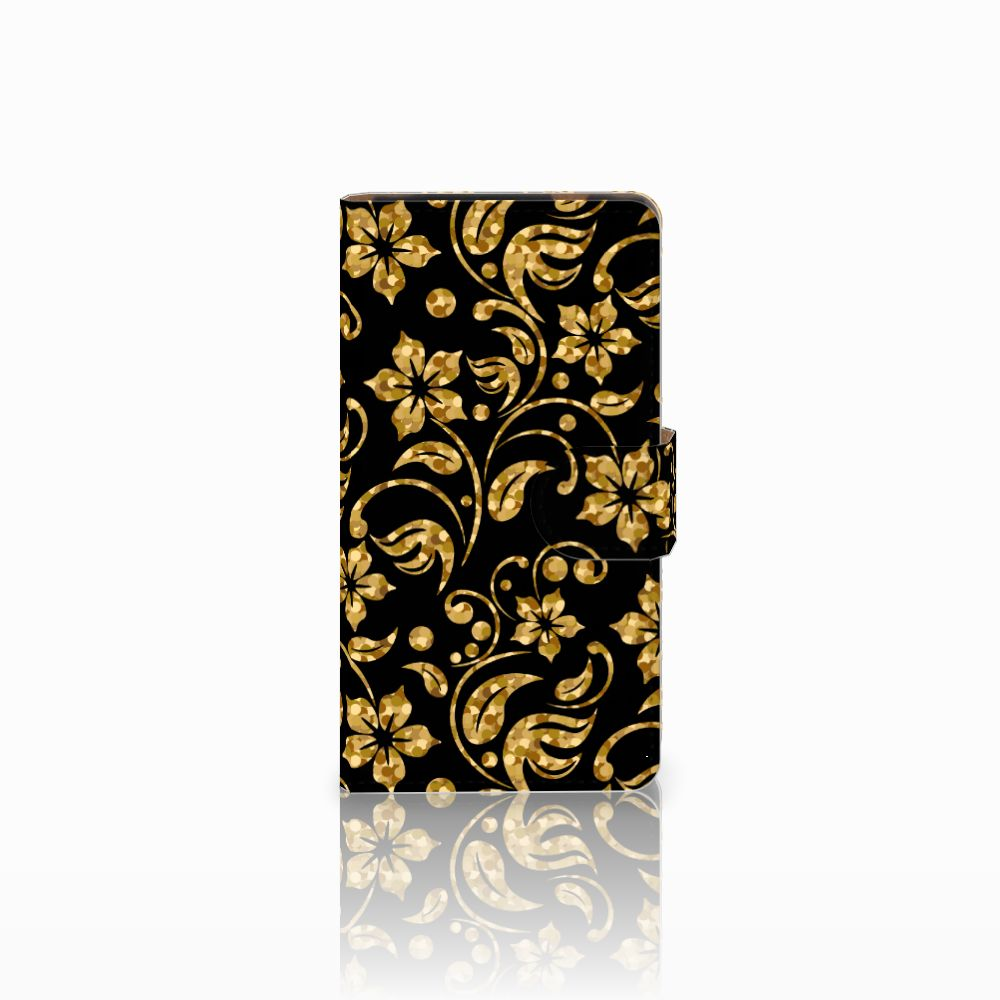 HTC Desire 601 Boekhoesje Design Gouden Bloemen