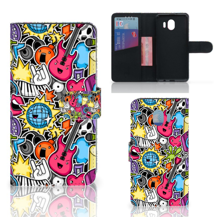 Samsung Galaxy J4 2018 Wallet Case met Pasjes Punk Rock