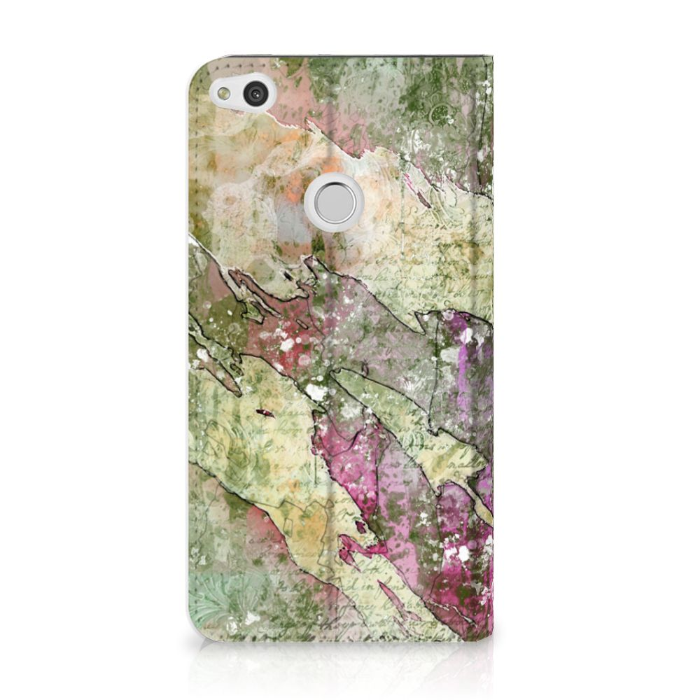 Huawei P8 Lite 2017 Uniek Standcase Hoesje Letter Painting