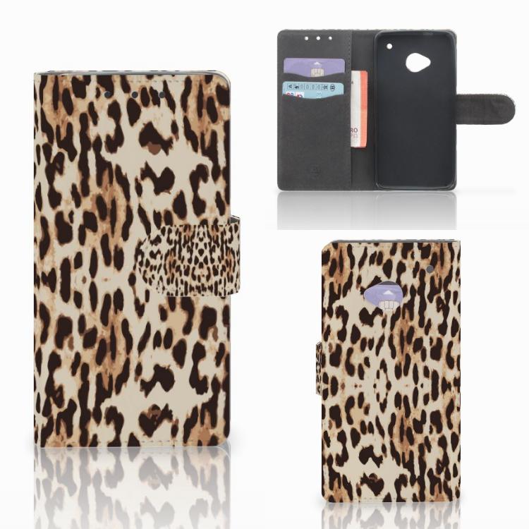 HTC One M7 Telefoonhoesje met Pasjes Leopard