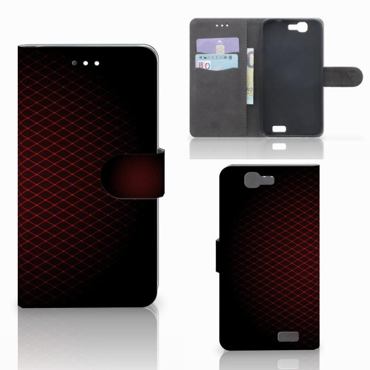 Huawei Ascend G7 Telefoon Hoesje Geruit Rood