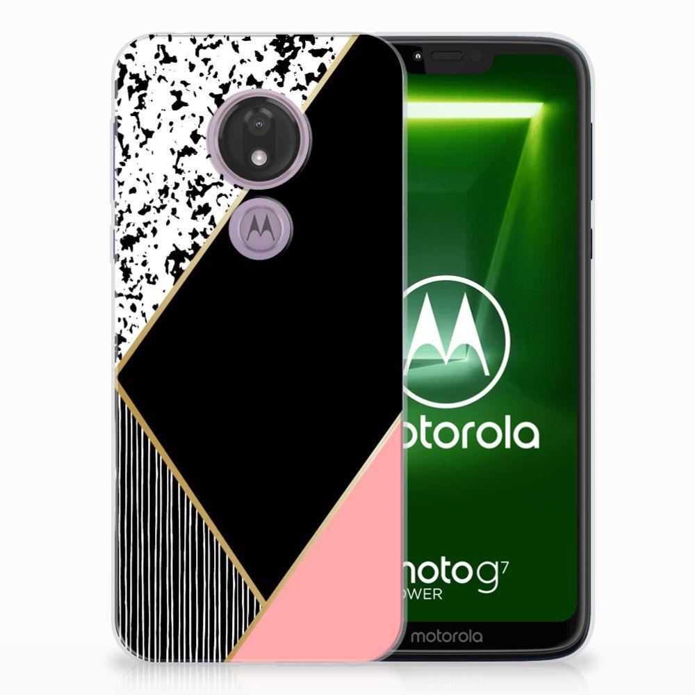 Motorola Moto G7 Power TPU Hoesje Zwart Roze Vormen