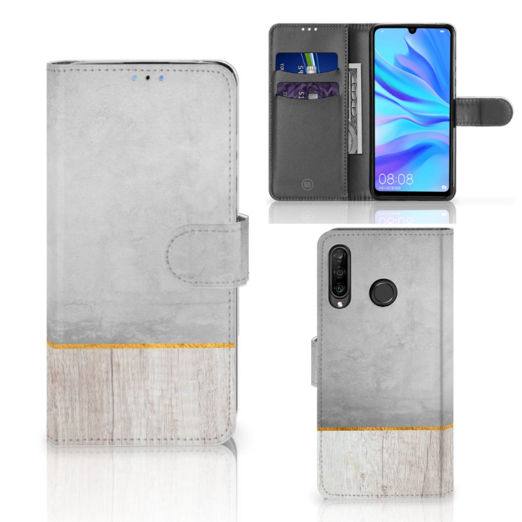 Huawei P30 Lite (2020) Book Style Case Wood Concrete