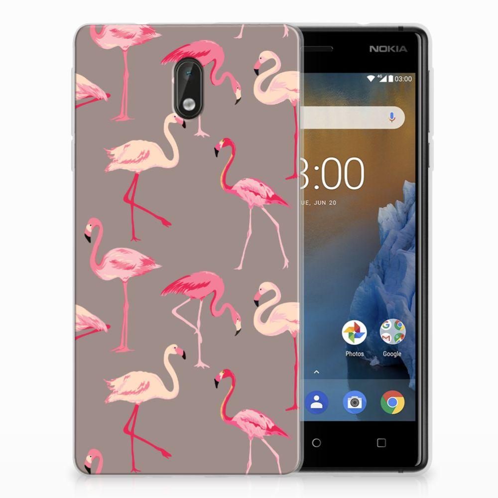 Nokia 3 Uniek TPU Hoesje Flamingo