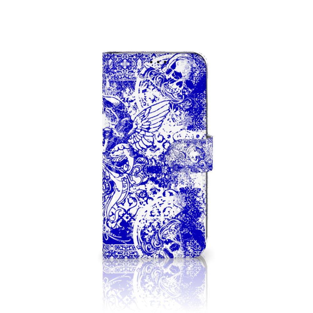Apple iPhone Xs Max Uniek Boekhoesje Angel Skull Blue