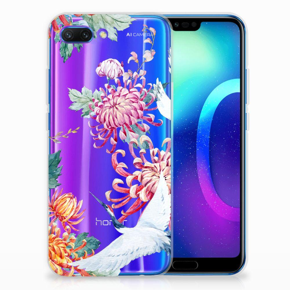 Huawei Honor 10 Uniek TPU Hoesje Bird Flowers
