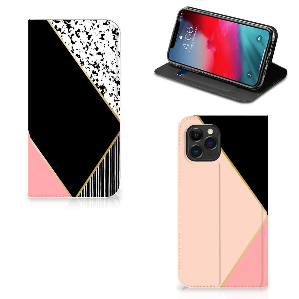 Apple iPhone 11 Pro Stand Case Zwart Roze Vormen