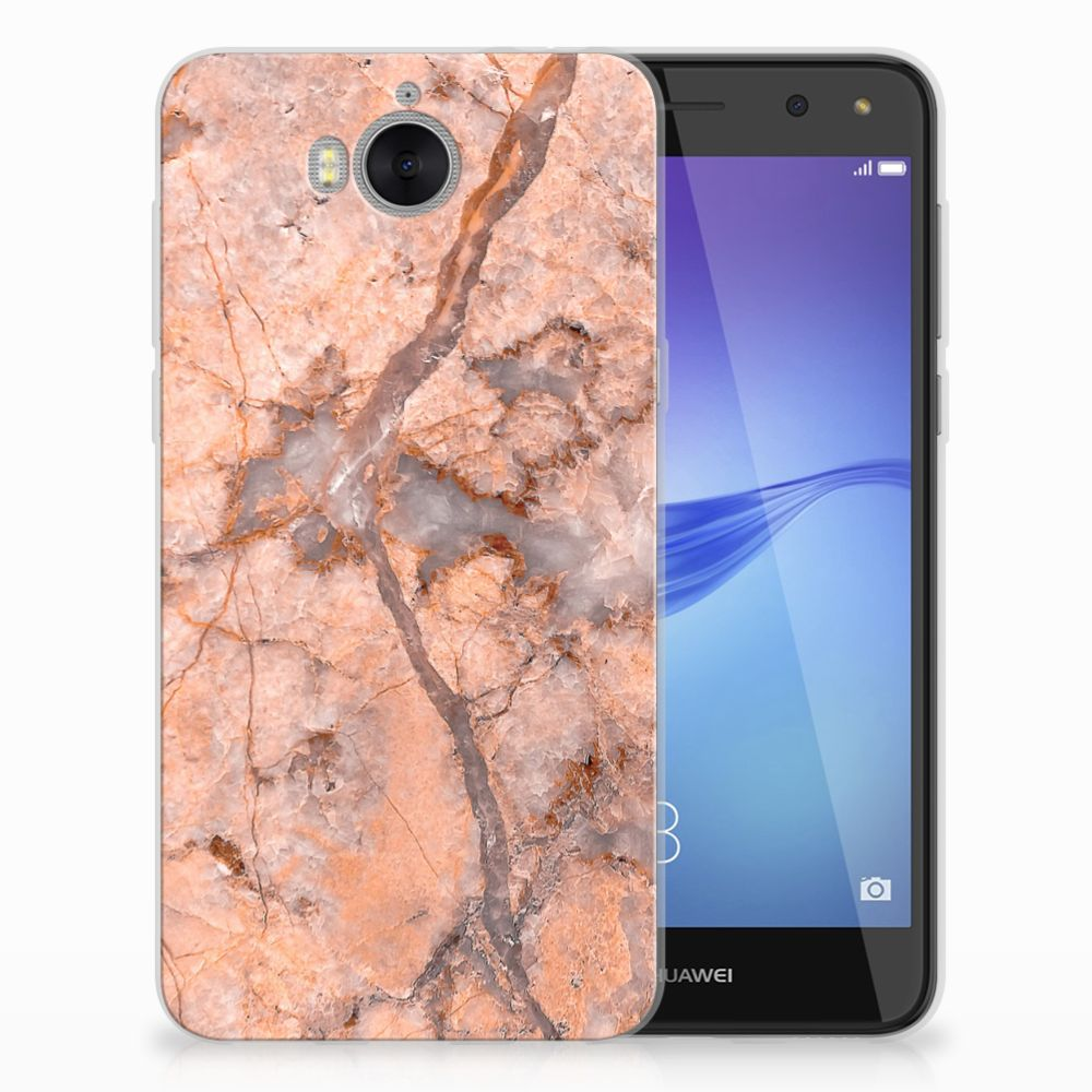 Huawei Y5 2017 | Y6 2017 TPU Siliconen Hoesje Marmer Oranje