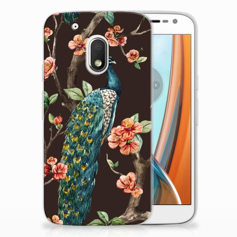 Motorola Moto G4 Play TPU Hoesje Design Pauw met Bloemen