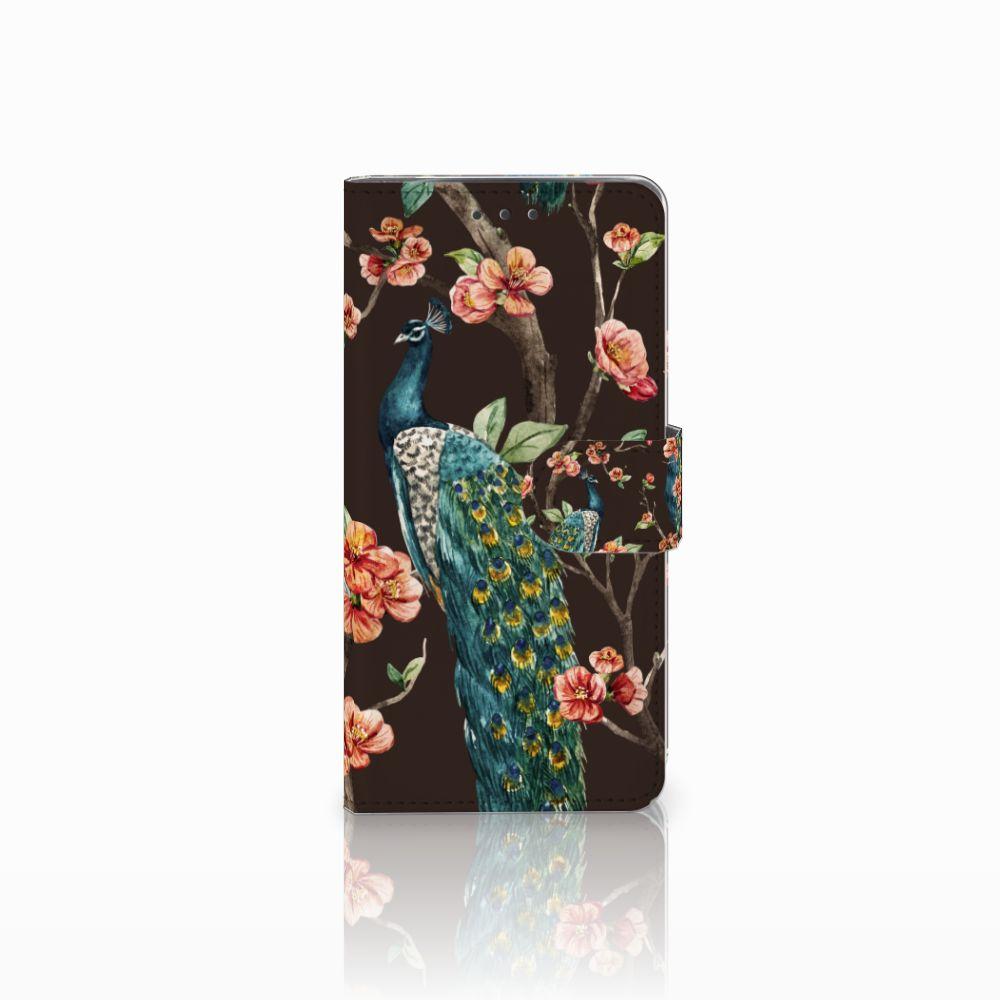 Motorola Moto X4 Boekhoesje Design Pauw met Bloemen