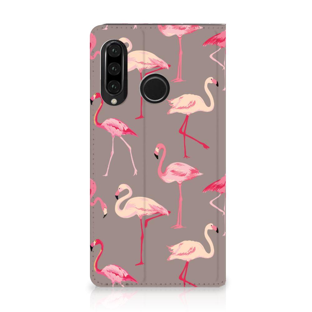 Huawei P30 Lite Uniek Standcase Hoesje Flamingo
