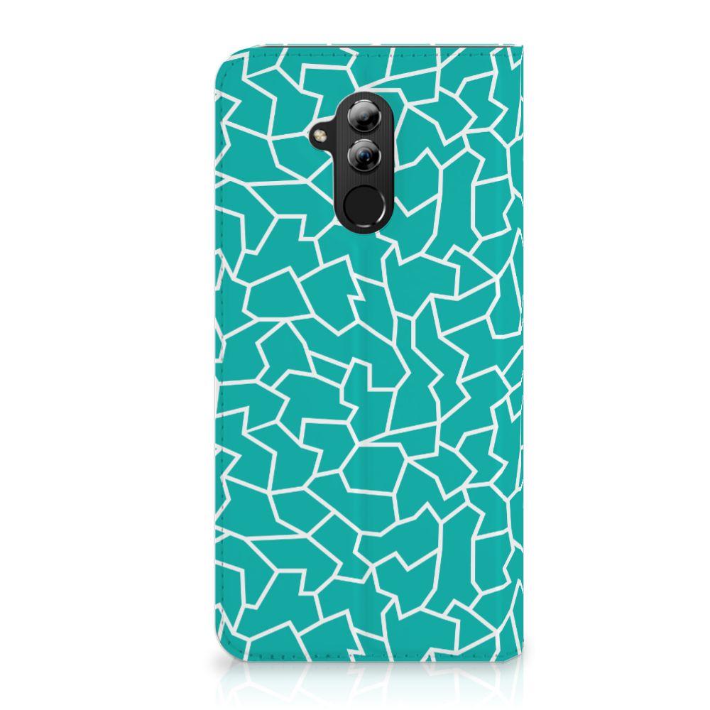 Huawei Mate 20 Lite Standcase Hoesje Design Cracks Blue