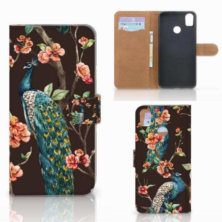 HTC Desire 10 Pro Telefoonhoesje met Pasjes Pauw met Bloemen