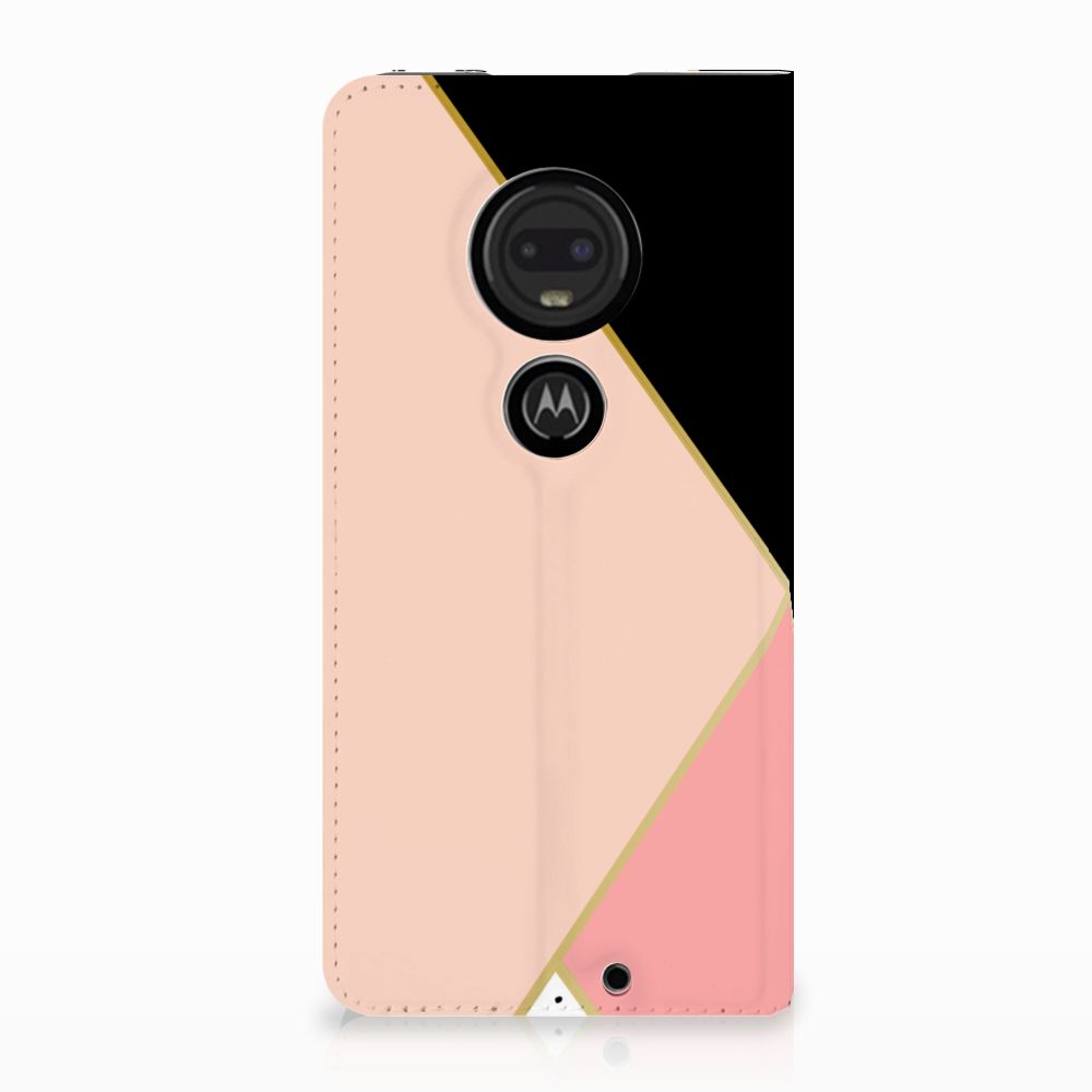 Motorola Moto G7 | G7 Plus Uniek Standcase Hoesje Black Pink Shapes