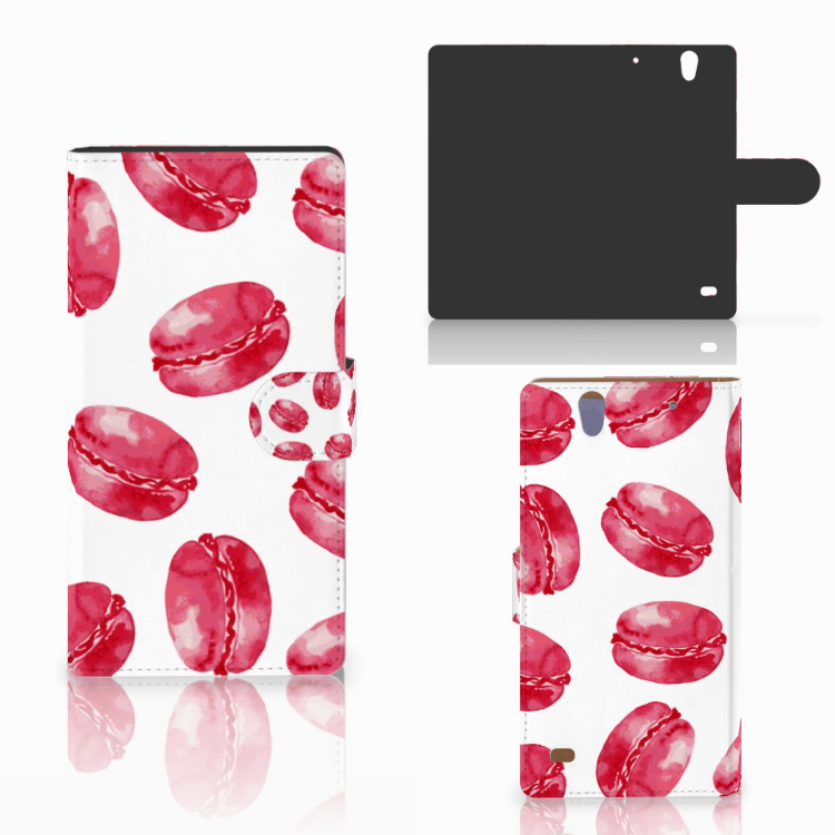 Sony Xperia C4 Book Cover Pink Macarons