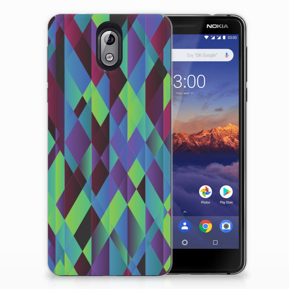Nokia 3.1 (2018) TPU Hoesje Abstract Green Blue