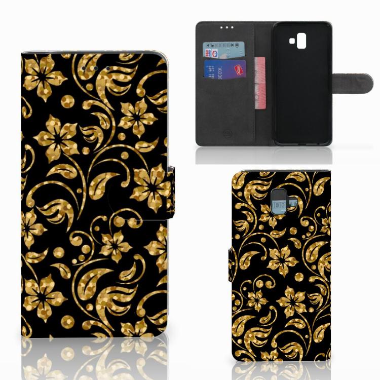 Samsung Galaxy J6 Plus (2018) Hoesje Gouden Bloemen