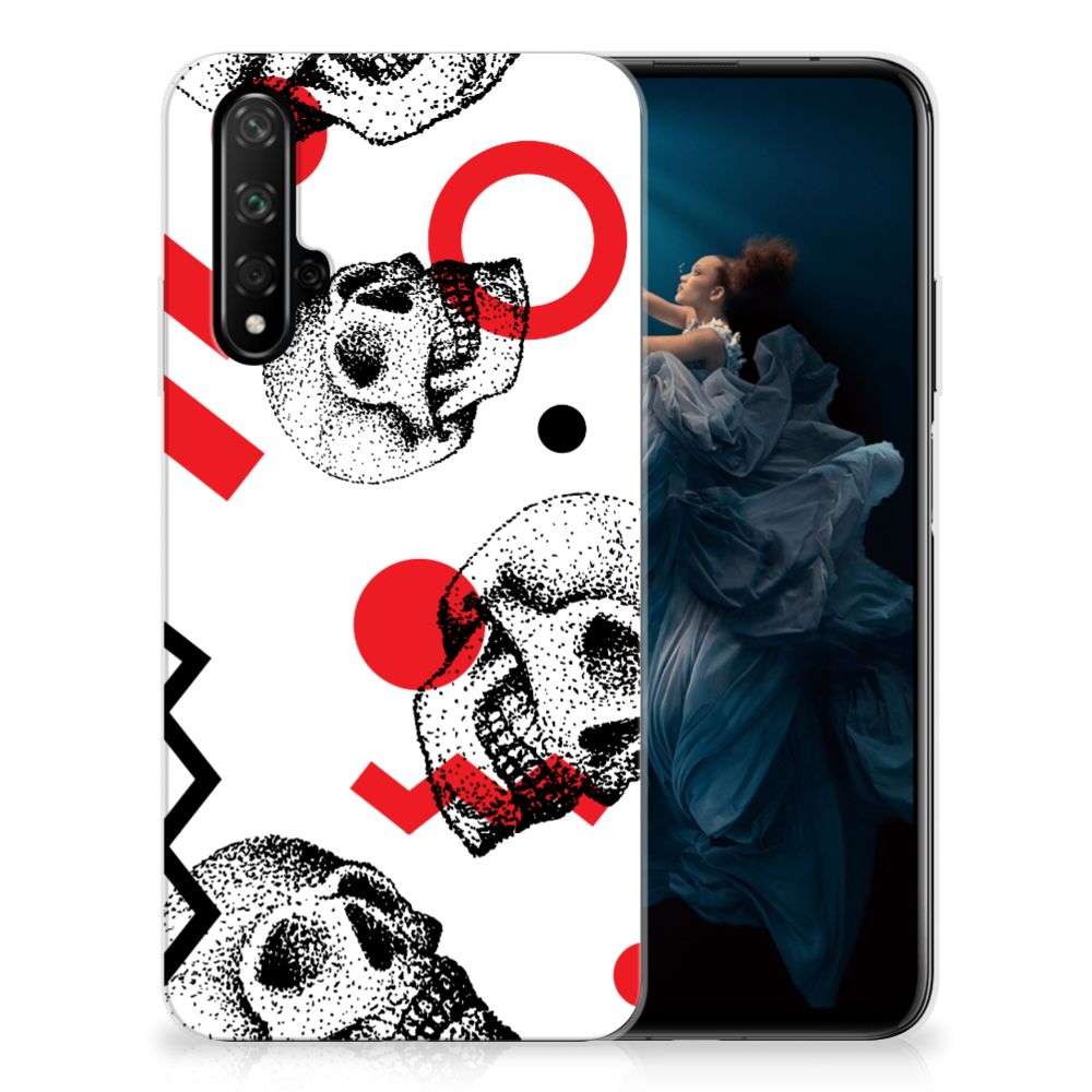 Silicone Back Case Honor 20 Skull Red