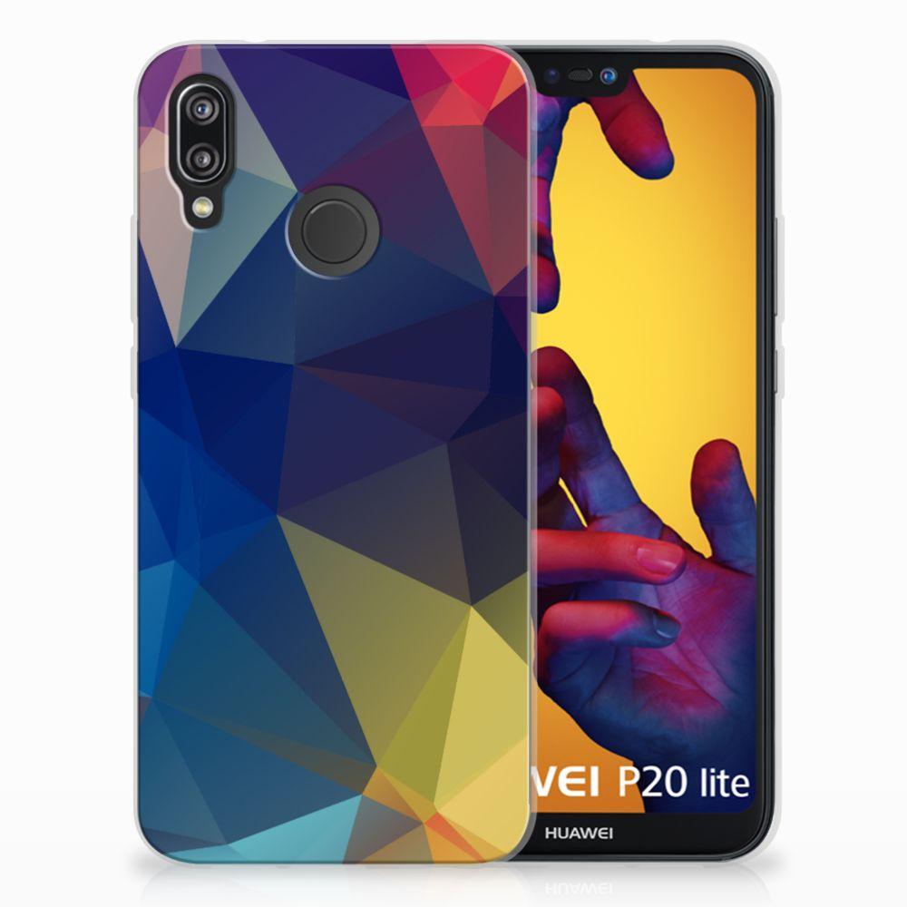 Huawei P20 Lite TPU Hoesje Polygon Dark