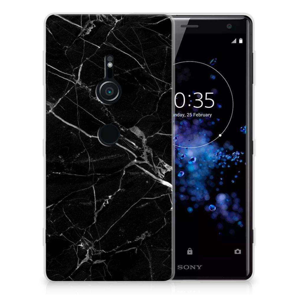 Sony Xperia XZ2 TPU Siliconen Hoesje Marmer Zwart