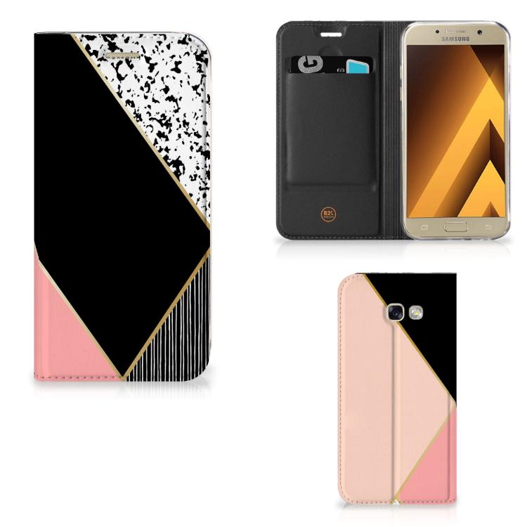 Samsung Galaxy A5 2017 Stand Case Zwart Roze Vormen