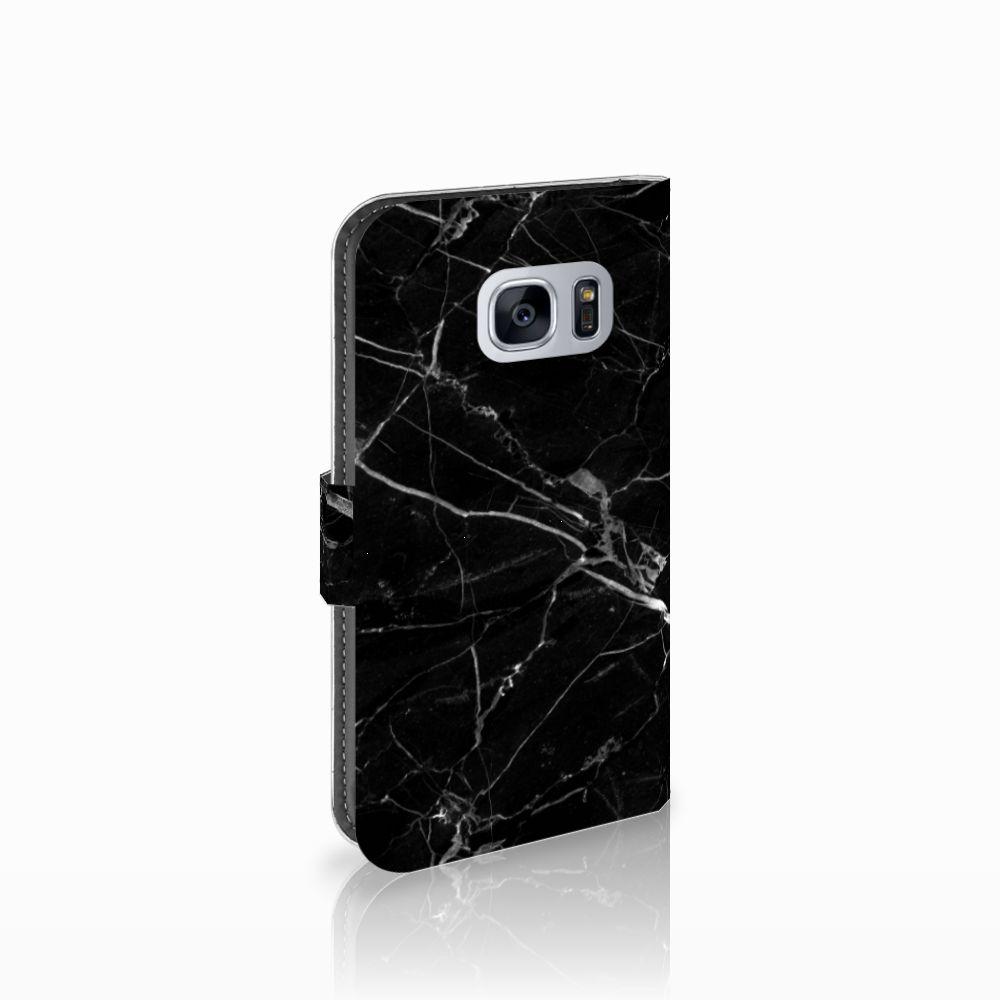 Samsung Galaxy S7 Uniek Boekhoesje Marmer Zwart