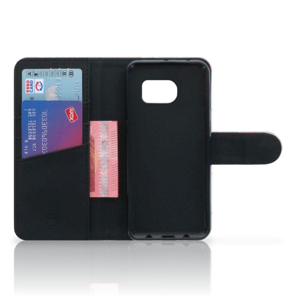 Samsung Galaxy S6 Edge Telefoonhoesje met Pasjes Flamingo