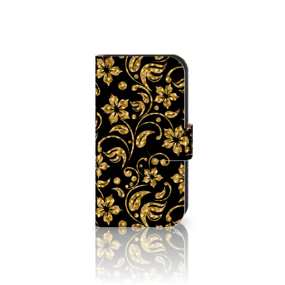 Samsung Galaxy Ace 4 4G (G357-FZ) Boekhoesje Design Gouden Bloemen