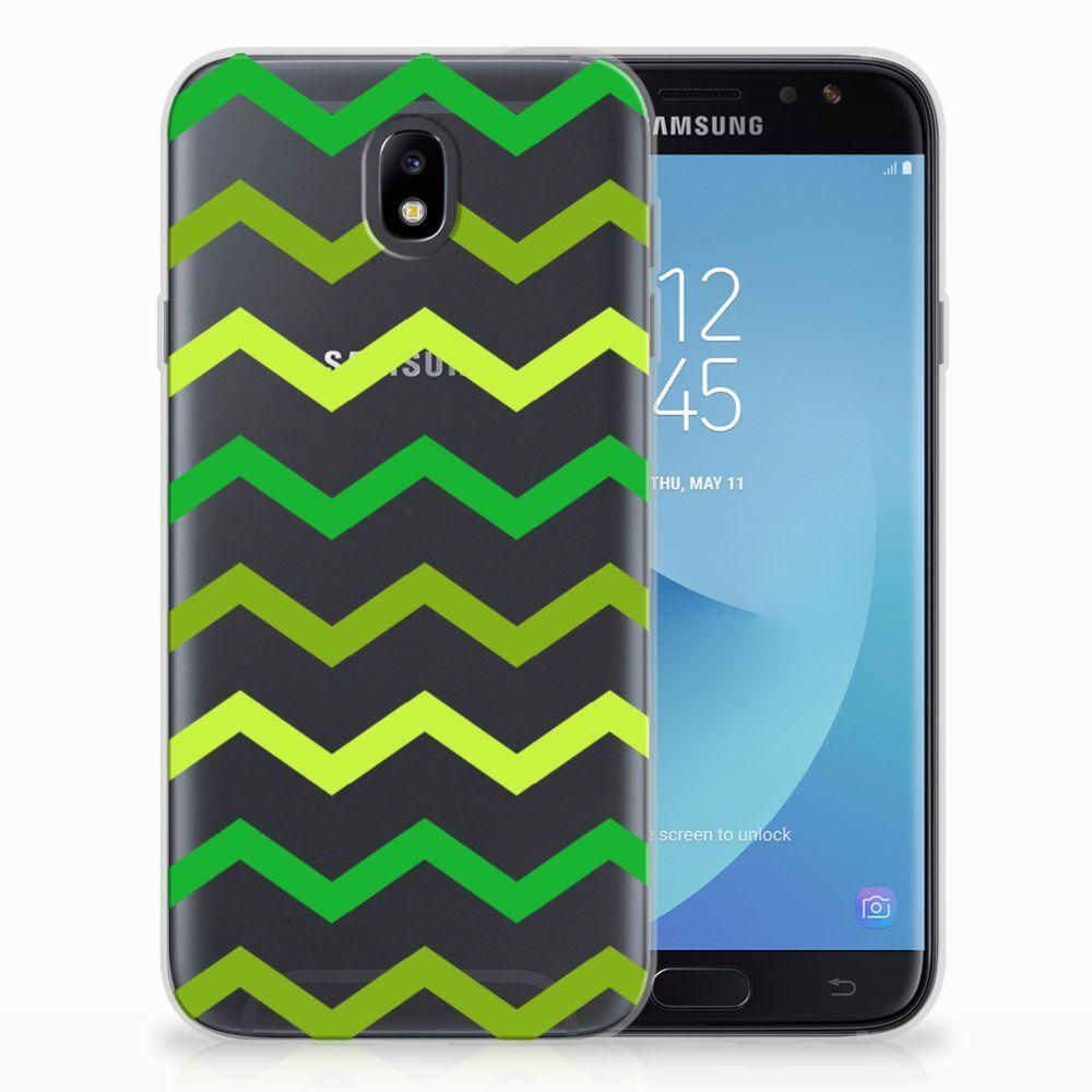 Samsung Galaxy J7 2017   J7 Pro TPU bumper Zigzag Groen