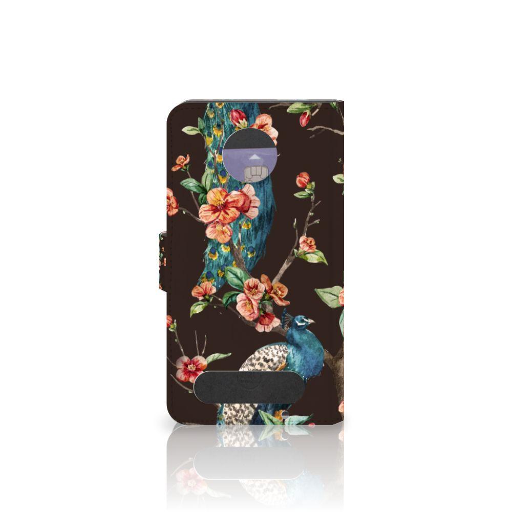 Motorola Moto Z2 Force Telefoonhoesje met Pasjes Pauw met Bloemen