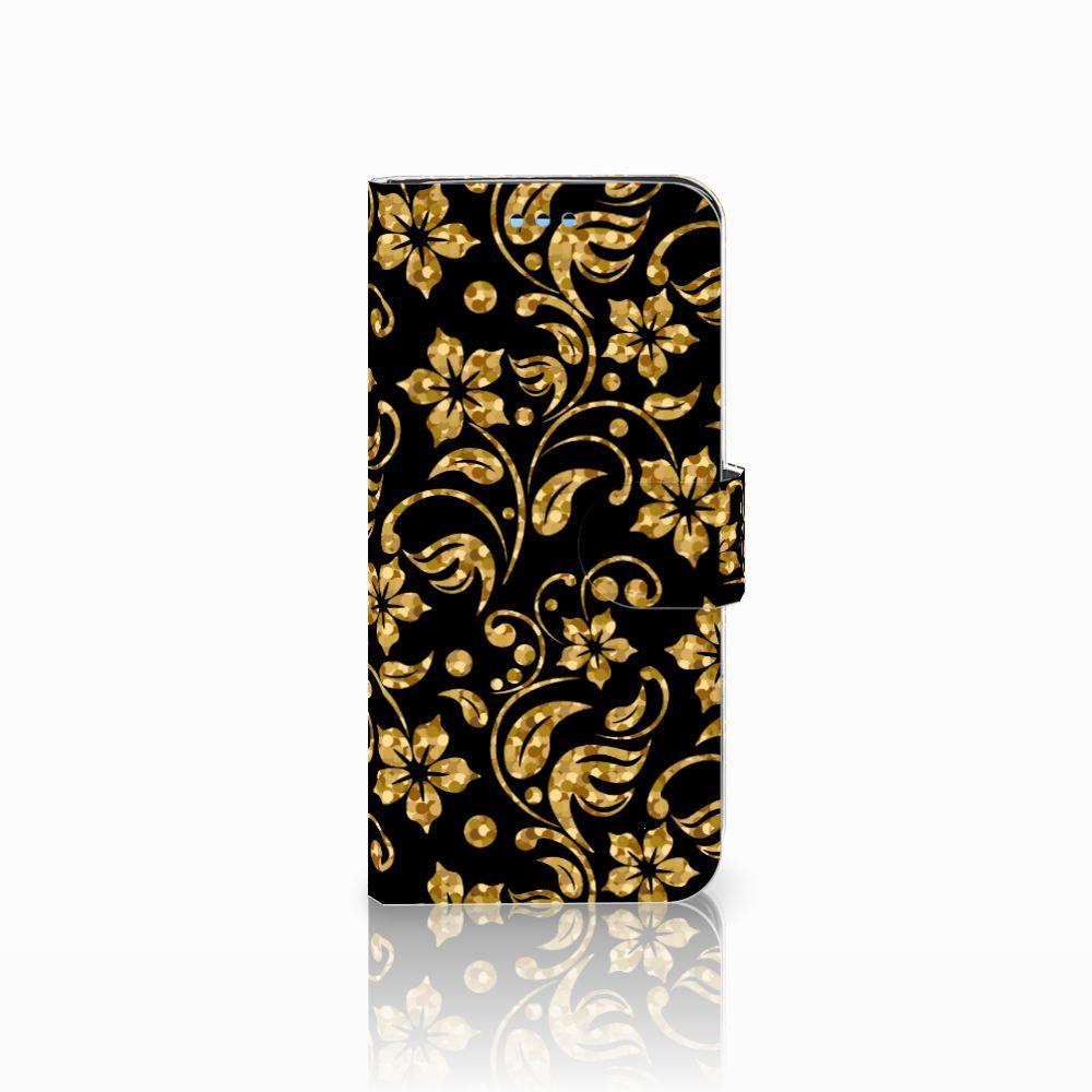 Samsung Galaxy S9 Boekhoesje Design Gouden Bloemen