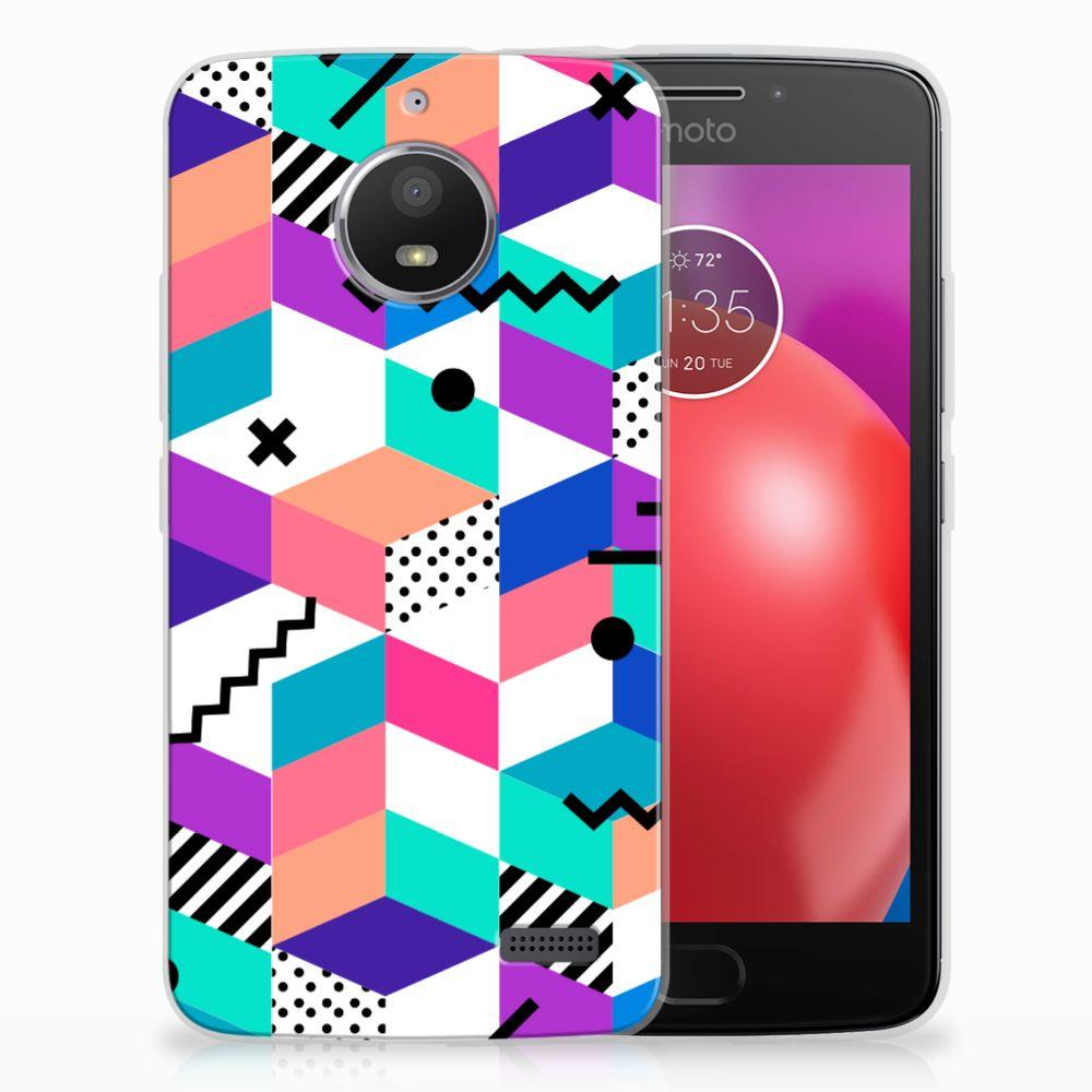 Motorola Moto E4 TPU Hoesje Blokken Kleurrijk