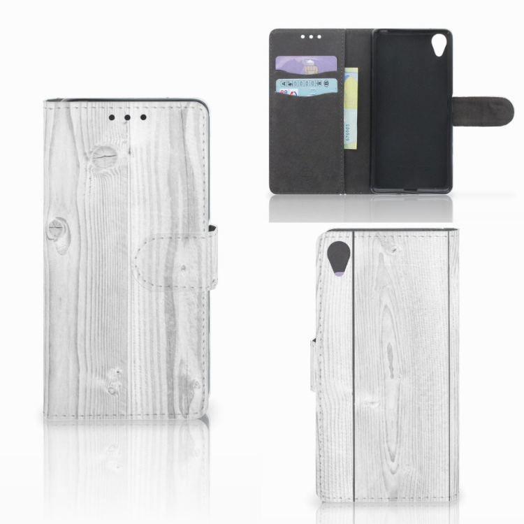 Sony Xperia X Book Style Case White Wood
