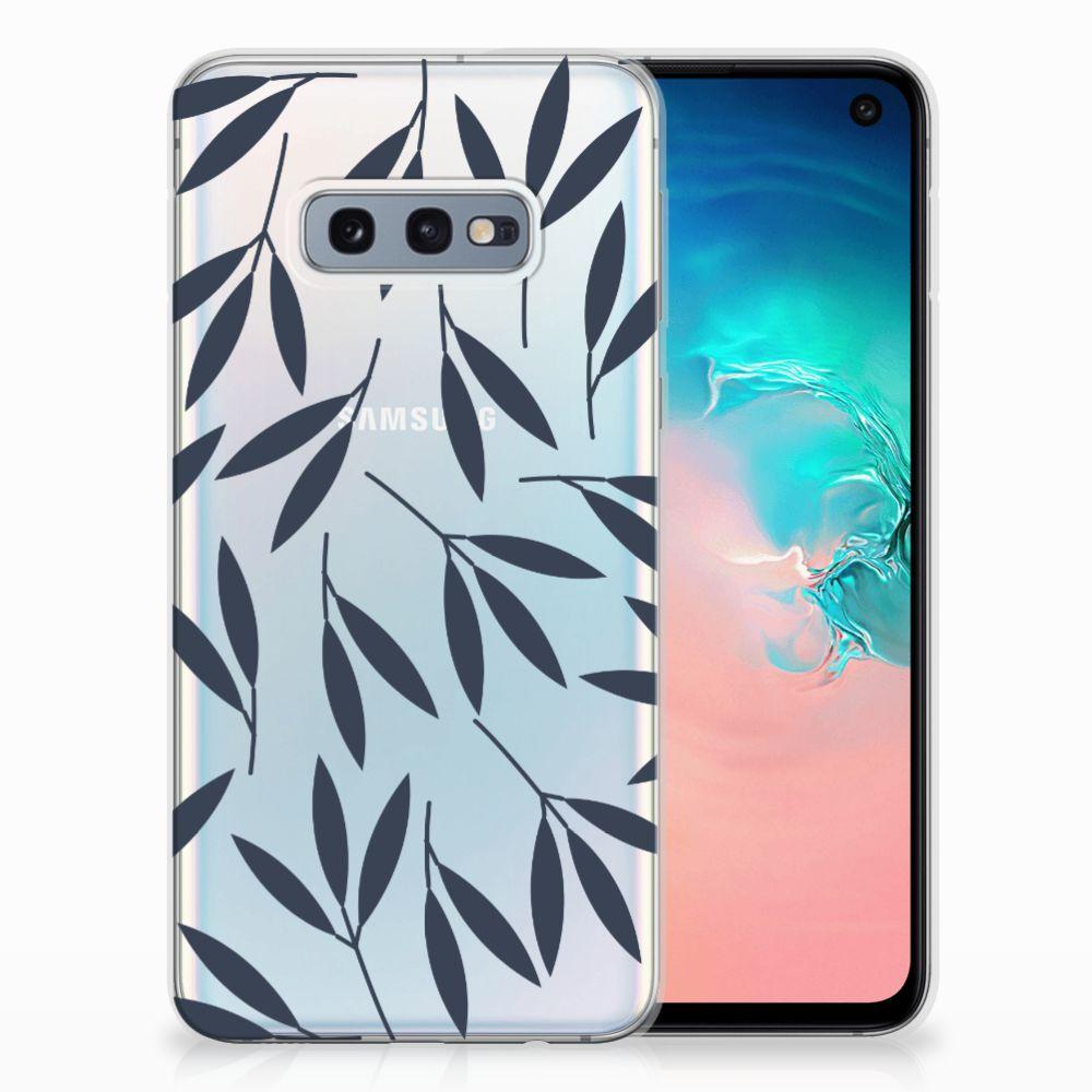 Samsung Galaxy S10e TPU Hoesje Design Leaves Blue