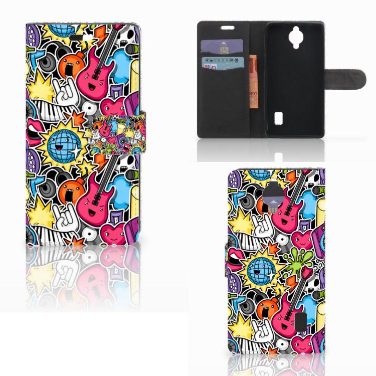 Huawei Y635 Wallet Case met Pasjes Punk Rock