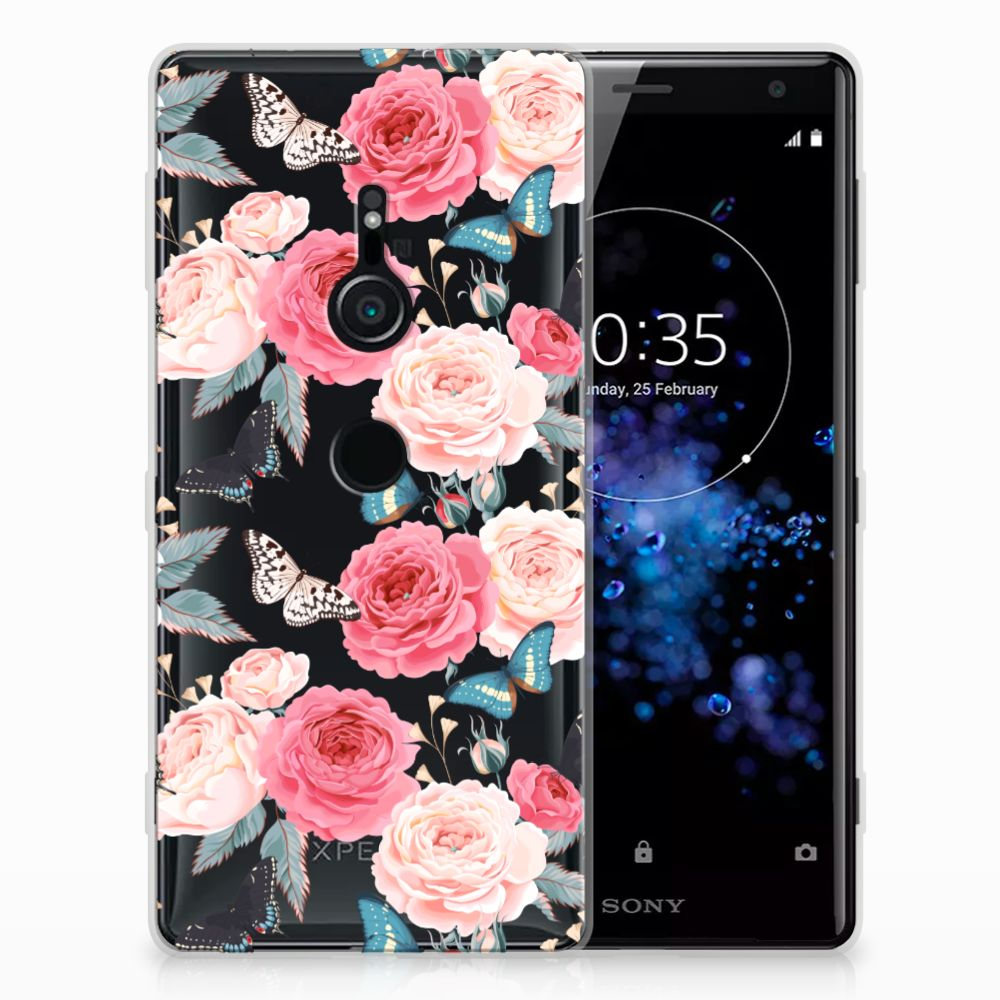 Sony Xperia XZ2 Uniek TPU Hoesje Butterfly Roses