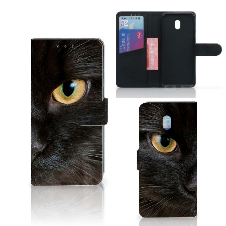 Xiaomi Redmi 8A Telefoonhoesje met Pasjes Zwarte Kat