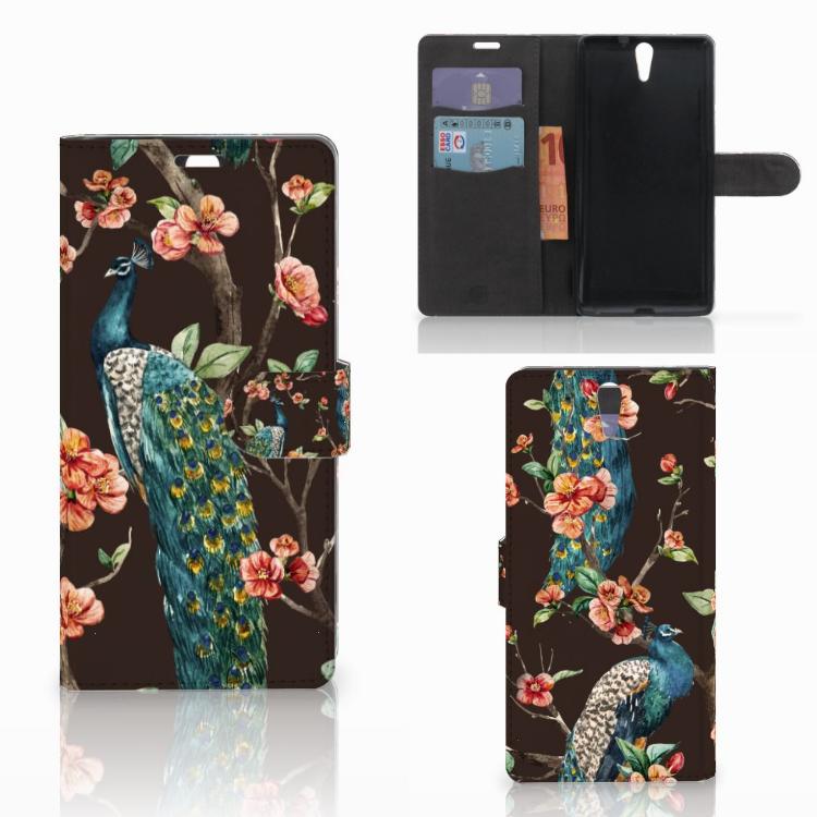 Sony Xperia C5 Ultra Telefoonhoesje met Pasjes Pauw met Bloemen