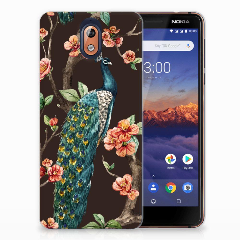 Nokia 3.1 (2018) TPU Hoesje Design Pauw met Bloemen