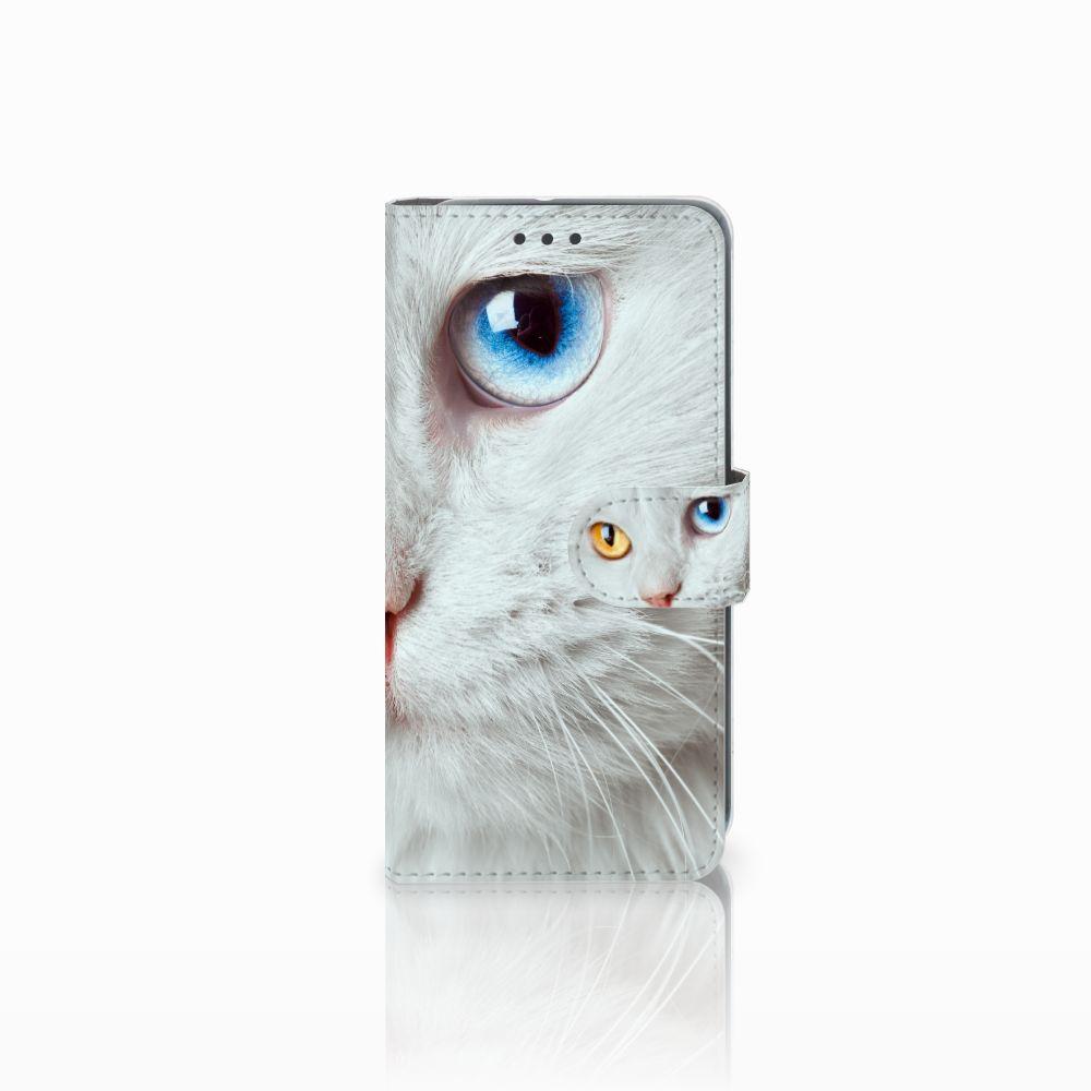 HTC U11 Life Uniek Boekhoesje Witte Kat