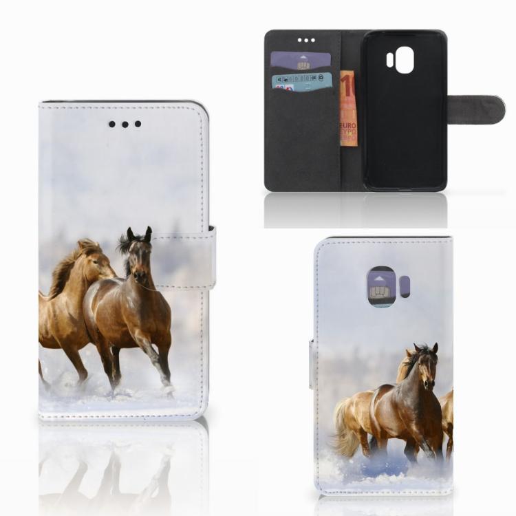 Samsung Galaxy J2 Pro 2018 Telefoonhoesje met Pasjes Paarden
