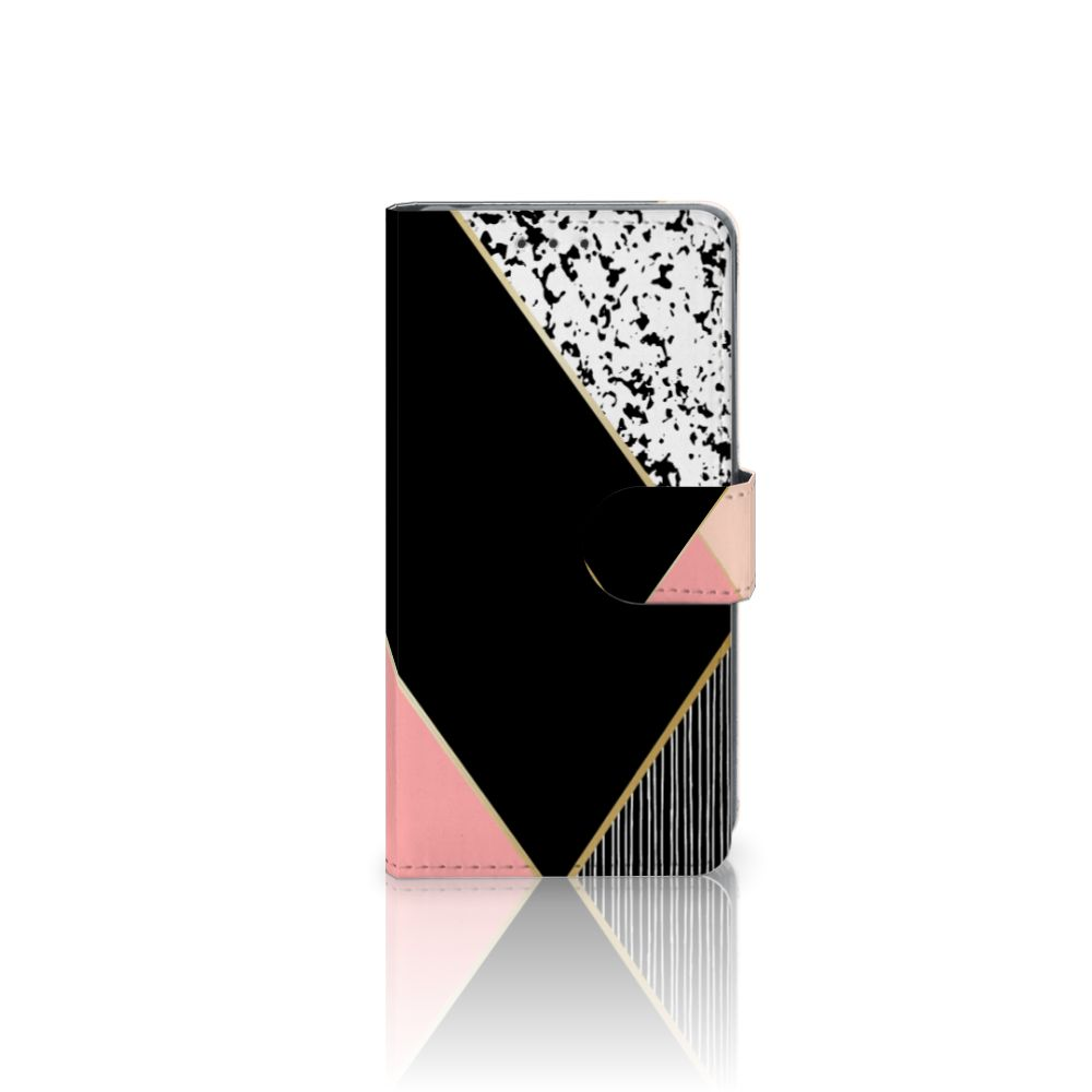 Sony Xperia Z2 Boekhoesje Black Pink Shapes