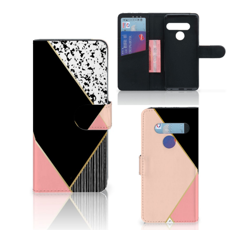 LG G8s Thinq Bookcase Zwart Roze Vormen