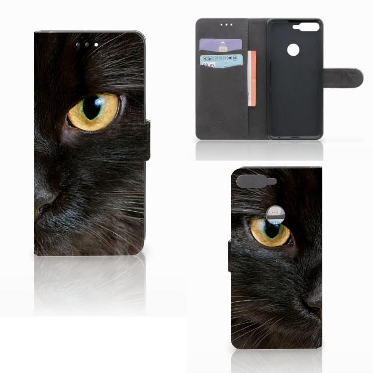 Huawei Y7 2018 Telefoonhoesje met Pasjes Zwarte Kat