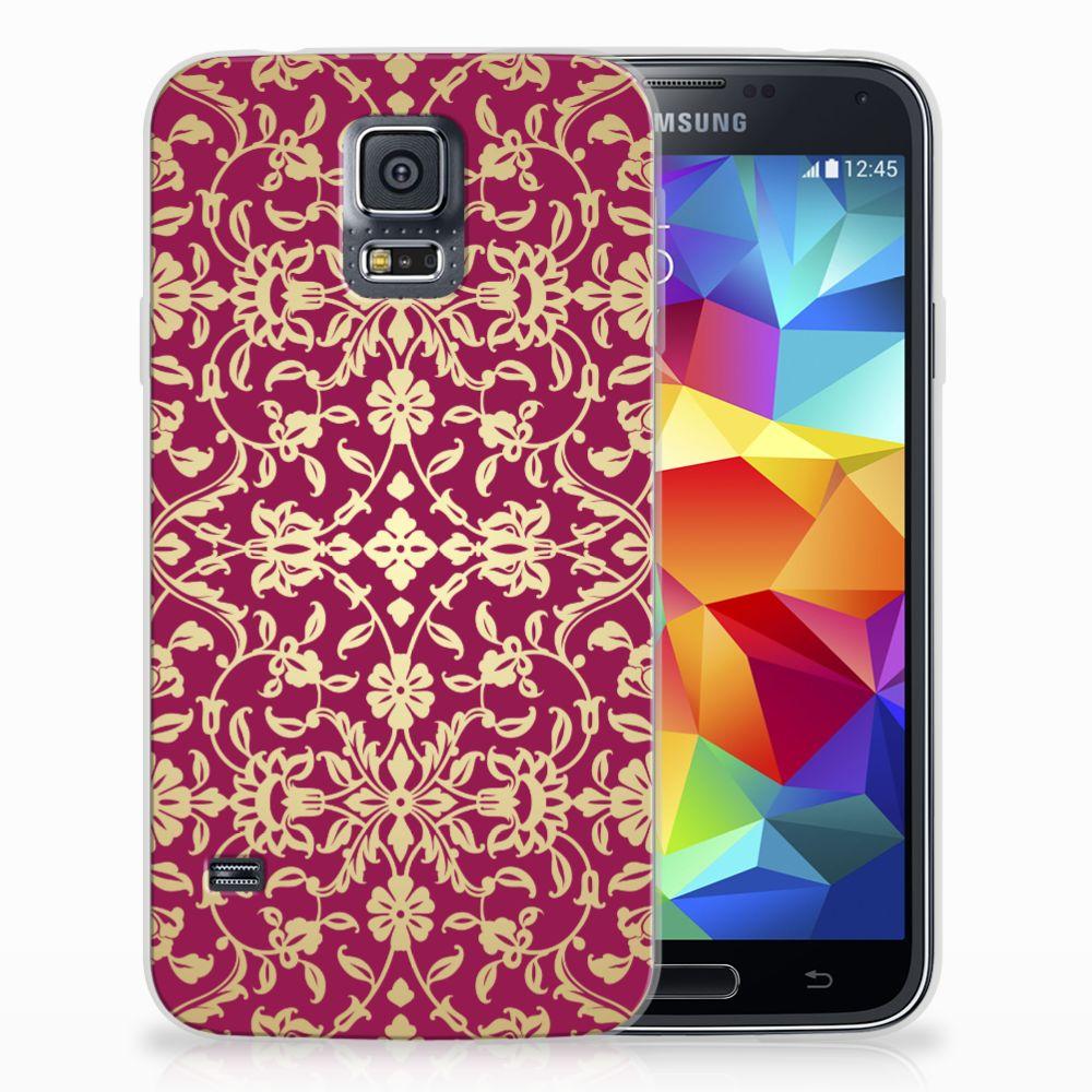 Samsung Galaxy S5 TPU Hoesje Design Barok Pink
