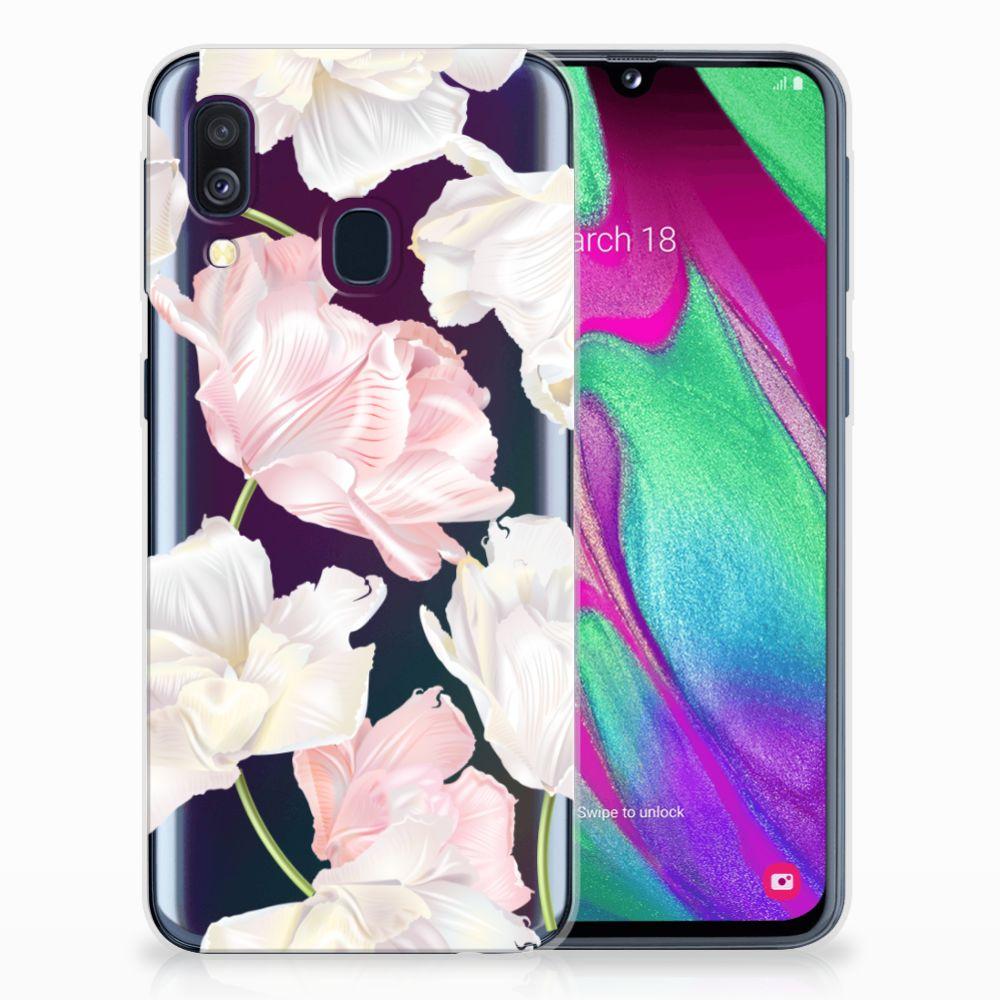 Samsung Galaxy A40 TPU Hoesje Design Lovely Flowers